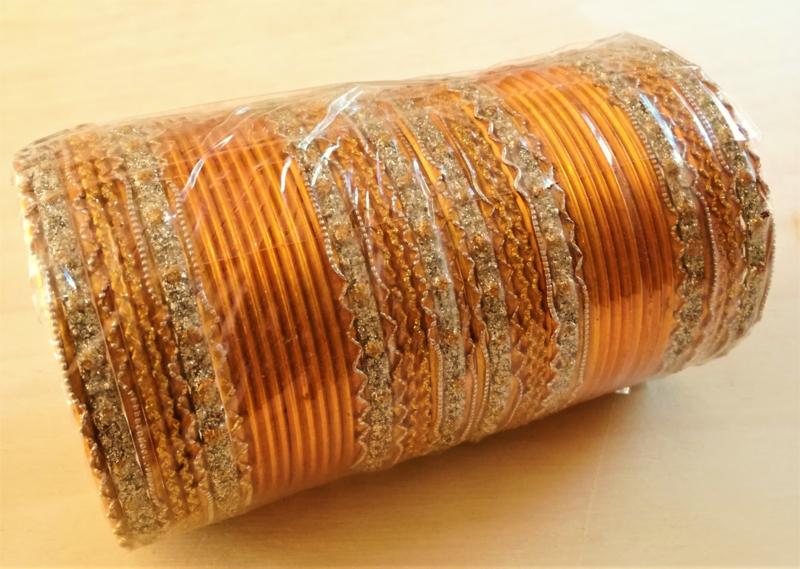 Indiase bangle armbanden geel/ zilver