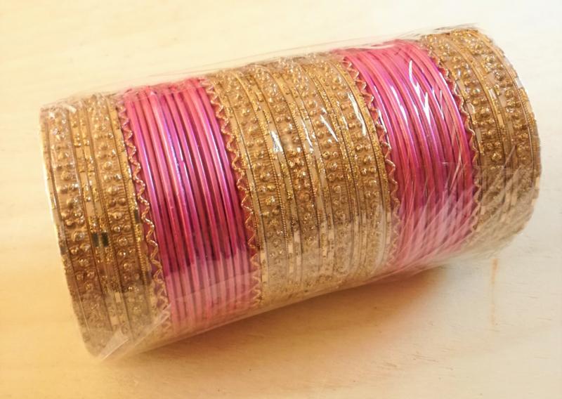 Indiase bangle armbanden  roze/goud