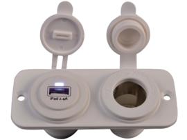 dubbel flush frame wit met usb 2.4A en STD STOI