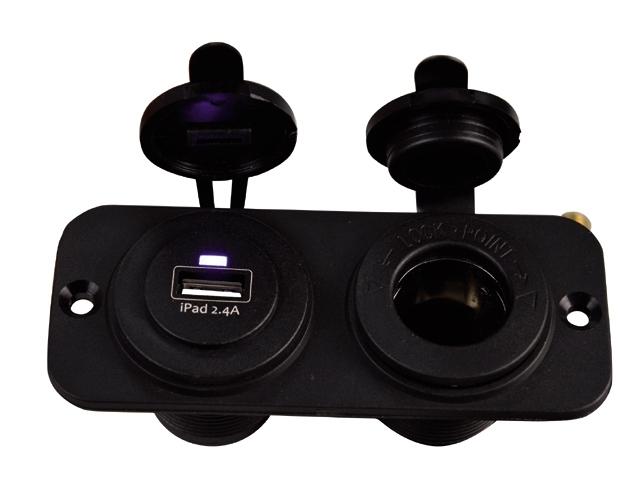 dubbel flush frame zwart met usb 2.4A en std S