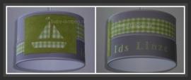 kinderlamp stoer bootje lime groen grijs spijkerstof en naam