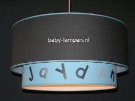 Kinderlamp dubbele lampenkap Jayden antraciet en lichtblauw