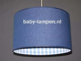 kinderlamp spijkerstof en lichtblauwe ruitjes