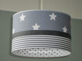 Lamp kinderkamer grijze sterren en strepen
