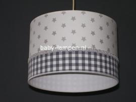 kinderlamp wit zilveren sterren en grijs ruitje