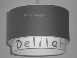 Kinderlamp dubbele lampenkap antraciet en wit met naam
