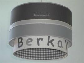 Kinderlamp dubbele lampenkap Berkay grijs antraciet en wit