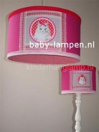Kinderlamp met poesje fuchsia en rood