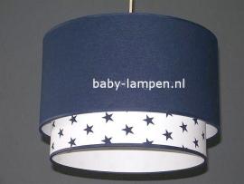 kinderlamp dubbele lampenkap donkerblauw en wit met donkerblauw sterren