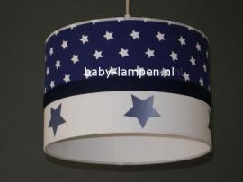 kinderlamp donkerblauw witte sterren en donkerblauwe sterren