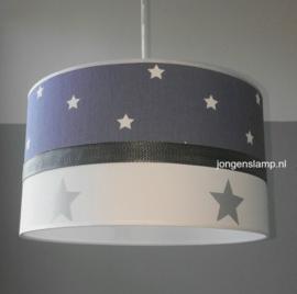 kinderlamp jeansblauw zilveren sterren