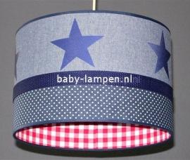 kinderlamp spijkerstof donkerblauwe sterren en stipjes rode ruit