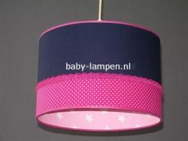 kinderlamp donkerblauw fuchsia stipje roze sterren