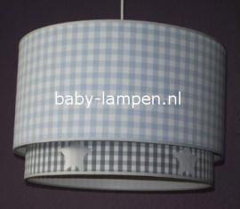 kinderlamp dubbele lampenkap lichtblauwe ruit en grijze ruit met zilveren sterren
