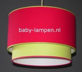Kinderlamp dubbele lampenkap effen rood en lime groen