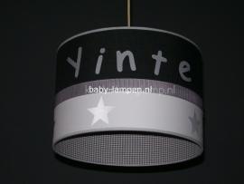 Kinderlamp met naam antraciet en mini grijs ruitje