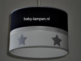 kinderlamp donkerblauw en zilveren sterren