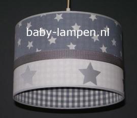 kinderlamp grijs met sterren zilveren sterren grijs ruitje