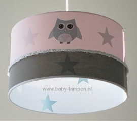Kinderlamp roze 3x uiltje binnenkant sterren stone green