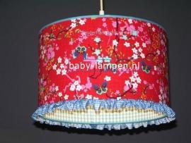 kinderlamp rood vlinder blauw ruitje en bandje