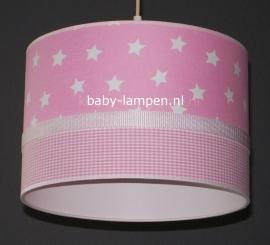 kinderlamp roze witte sterren en roze ruitje