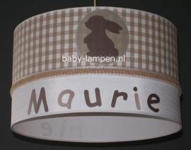Kinderlamp met naam beige met konijntje