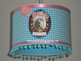 Kinderlamp paardje met naam in blauw
