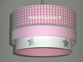Kinderlamp dubbele lampenkap roze ruitje zilver bandje wit zilveren sterren