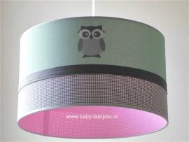 Kinderlamp mintgroen  3x uiltje en roze stipje binnenkant