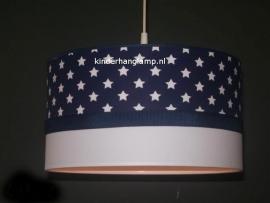 kinderlamp donkerblauw witte sterren en wit