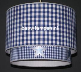 Kinderlamp dubbele lampenkap kobaltblauwe ruiten en zilveren sterren