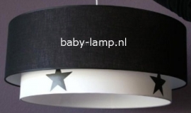 Kinderlamp dubbele lampenkap zwart wit zwarte sterren