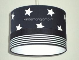 kinderlamp donkerblauw witte sterren en strepen
