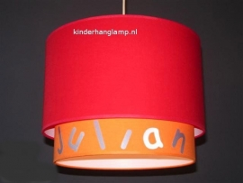 Kinderlamp dubbele lampenkap Julian rood en oranje