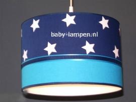 kinderlamp donkerblauw witte sterren en effen blauw