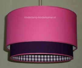 kinderlamp dubbele lampenkap fuchsia en paars