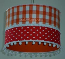 kinderlamp oranje ruit rode stipjes en witte bolletjes