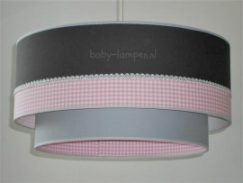 Kinderlamp dubbele lampenkap antraciet roze ruitje lichtgrijs met zilver bandje