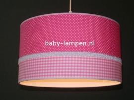 kinderlamp fuchsia witte stipjes roze ruitje