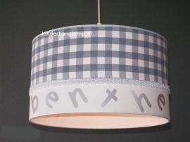 Kinderlamp met naam grijze ruit