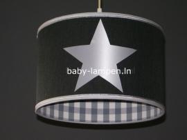 kinderlamp antraciet grote witte sterren en grijs ruitje