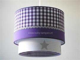 Kinderlamp dubbele lampenkap paars en zilveren sterren