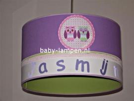 Kinderlamp met naam en uiltjes paars en limegroen