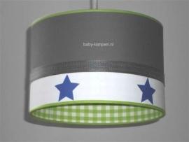 kinderlamp antraciet blauwe sterren en lime ruitje