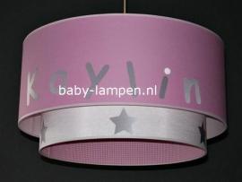 Kinderlamp dubbele lampenkap Kaylin roze en wit zilver sterren