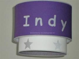 Kinderlamp Indy paars en zilveren sterren