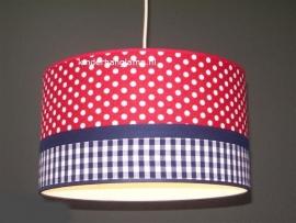 kinderlamp rood stipjes en blauwe ruitjes