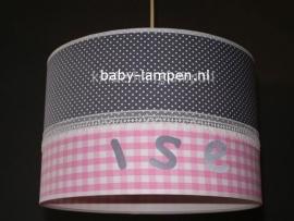 Kinderlamp met naam grijs stipje roze ruitje