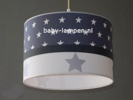 kinderlamp antraciet witte sterren en zilveren sterren