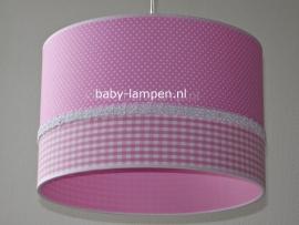 kinderlamp roze stipje roze ruitje en effen roze